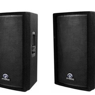 $90 2x Phonic ES 152 plus Power amp and aux lead