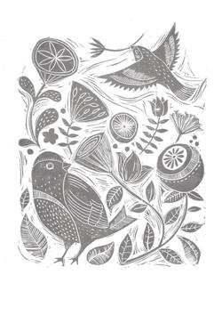 Linocut Birds