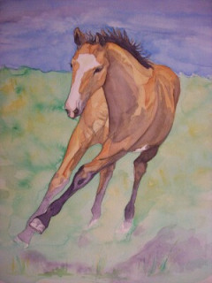 young horse running custom painting, horse watercolor by Sue Steiner, Free Rein Art Studio