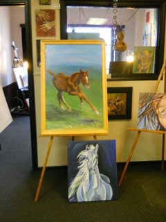 foal in spring grass oil painting,
