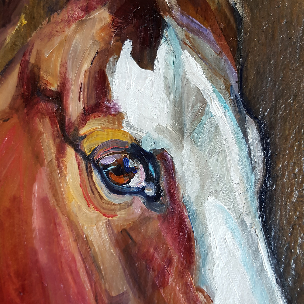 horse oil painting on slate