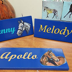 Custom Painted Portrait Horse Stall Signs by Sue Steiner