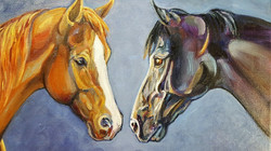 2 horse oil painting