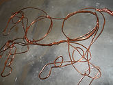 copper wire horse sculpture