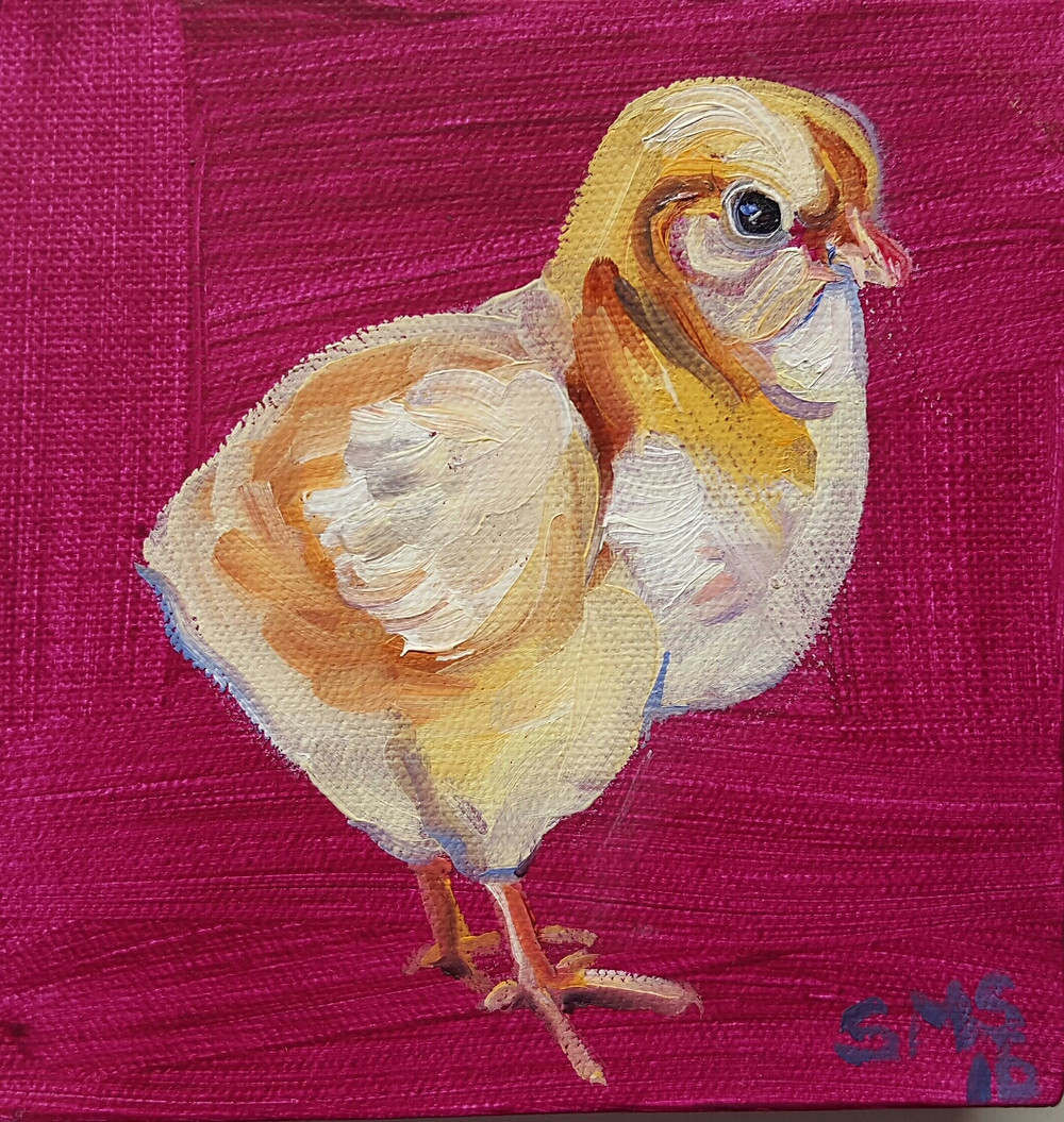 yellow peep oil painting
