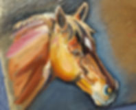 Horse paintingon slate by Sue Steiner