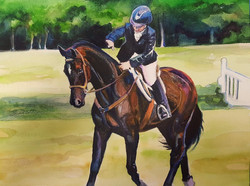 custom horse & rider watercolor