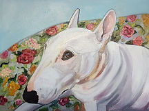 Bull Terrier Pet Portrait by Sue Steiner