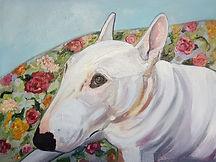 Bull Terrier Pet Portrait by Sue Steiner