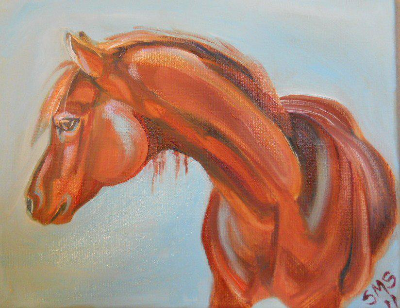 arabian horse oil painting