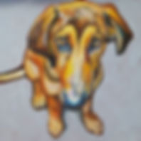 Hound dog mix oil painting
