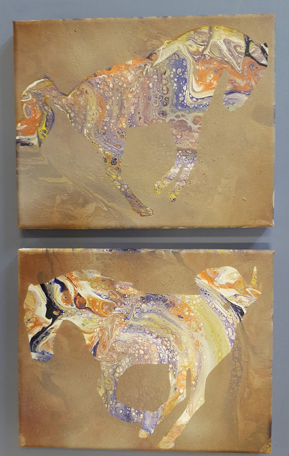 Poured Paintings with Horse Silhouette