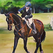 custom horse and rider painting by Sue Steiner