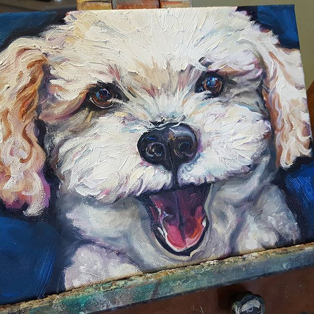 Custom dog pet portrait by Sue Steiner