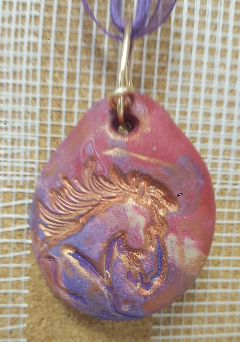 clay horse pendant