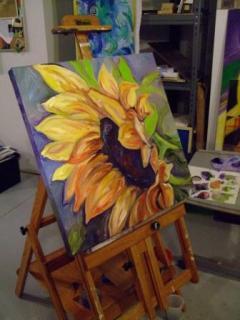 sunflower artwork by Sue Steiner, Free Rein Art Studio