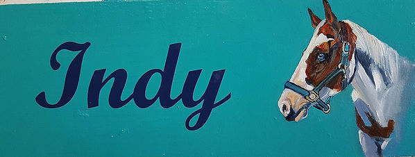 custom painted stall sign with portrait