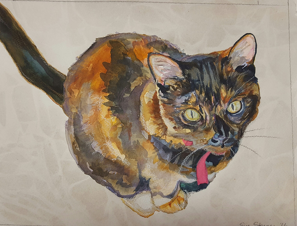 Custom Cat Watercolor Pet Portrait