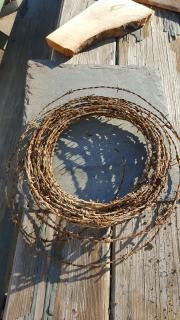 repurposed barbed wire, slate, barn wood