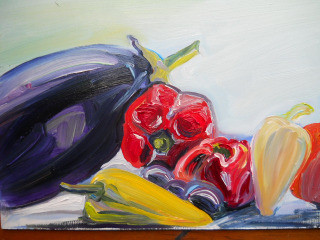 fresh from garden oil painting of vegetables