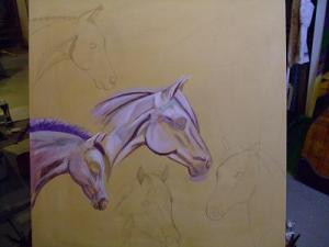 New Multi Horse Painting
