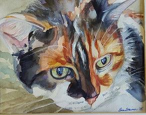calico cat watercolor portrait by Sue Steiner