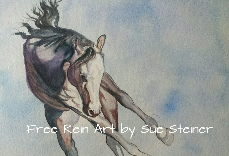 bucking horse watercolor