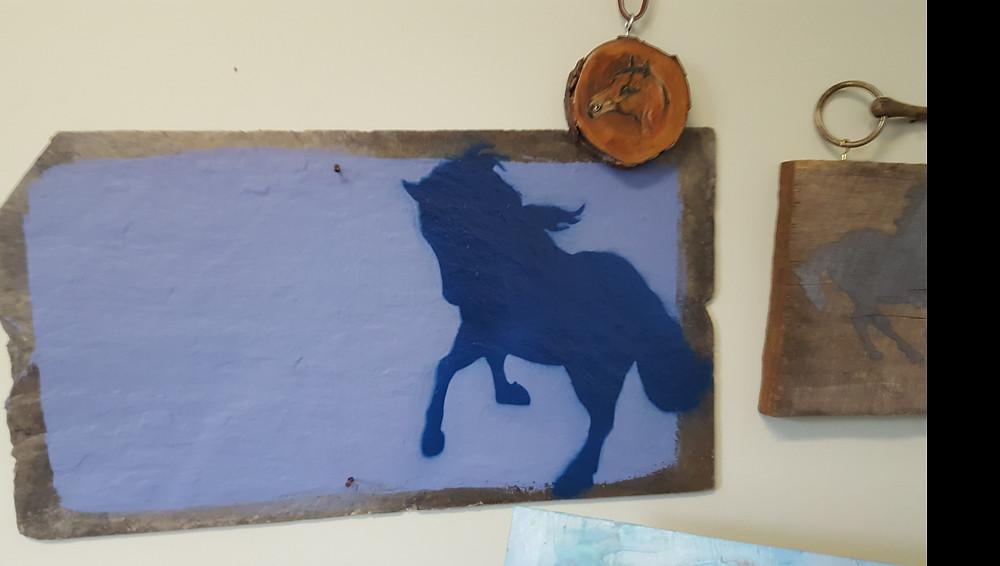 Vintage Chalkboard Horse Slate