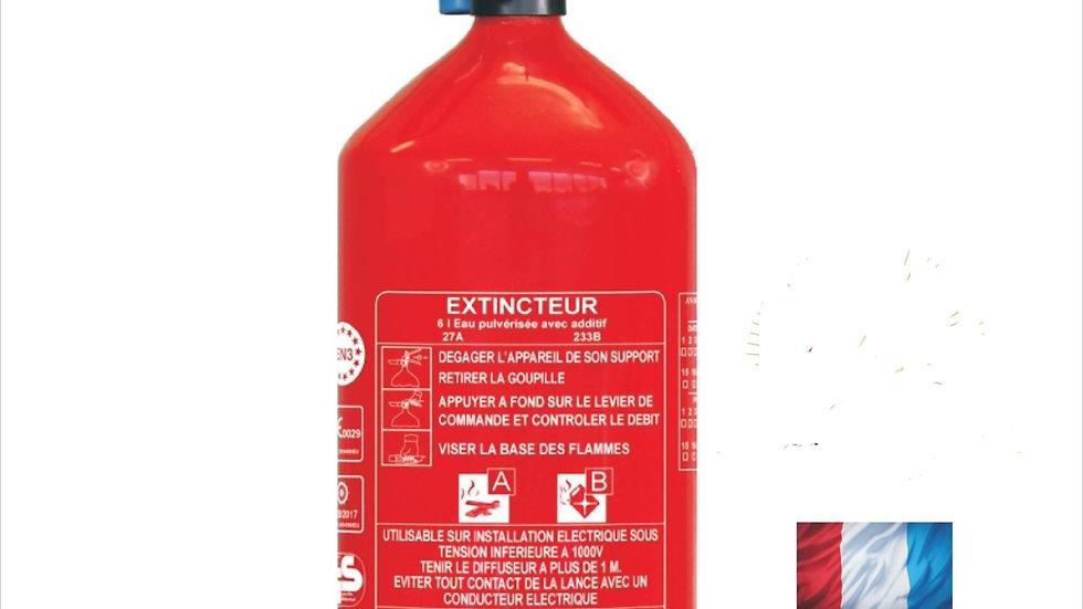 EXTINCTEUR NF. CE. EN3  EAU 6Lt +additif AB