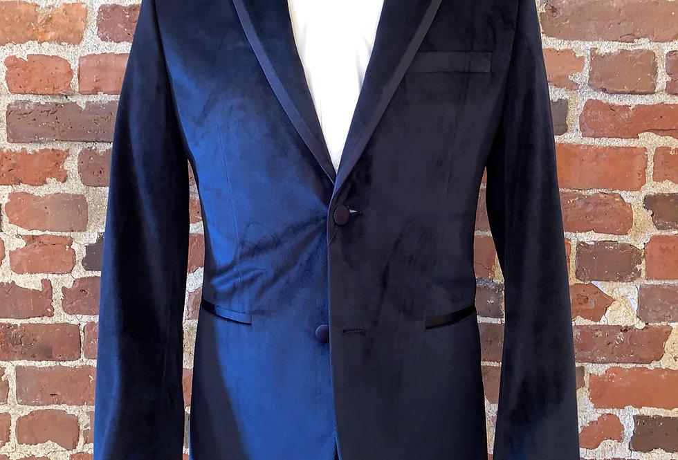 Navy Velvet Tuxedo Jacket