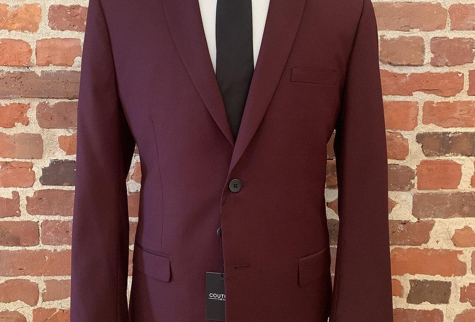 Burgundy Notch Lapel Suit