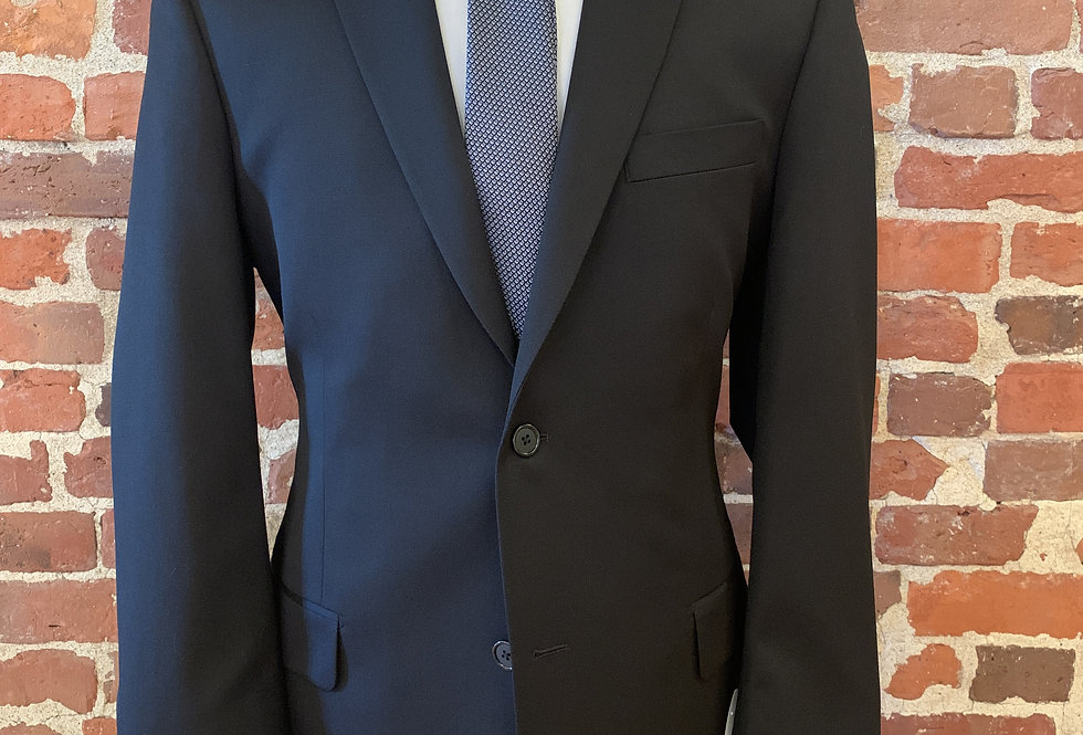 Two Piece Black Wool Suit