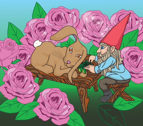 Gnome and bunny in rose garden