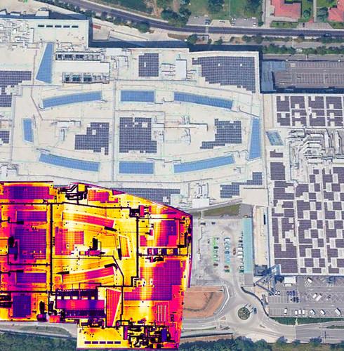 ortofoto radiometrica hot spot impianto fotovoltaico su copertura tetto centro commerciale elnos