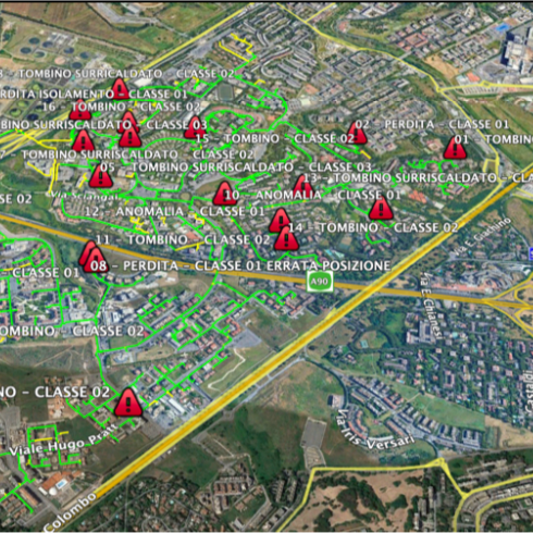 ispezione rete teleriscaldamento con drone e termo camera