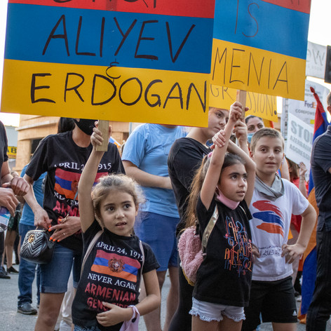 The Panosyan family come to express their family support to the Armenian people. Wed.,Sept. 30, 2020, Wilshire Bvld., LA, Calif.