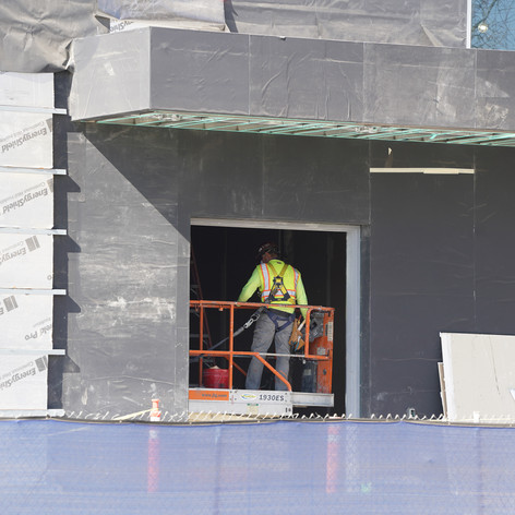 East side exteriors have external insulation added while workers inside continue finishing the Valley Cultural Center at Valley College on Oxnard and Fullerton, Nov. 2, 2020.
