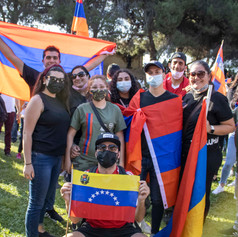 A group of students from Venezuela stands with Armenians.