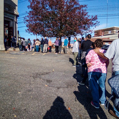 First day of voting line outside of Mulberry House in MIddletown, NY on Saturday, Oct. 24, 2020.