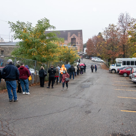 People standing in line to vote outside of Mulberry House on second day in Middletown, NY on Monday, Oct. 26, 2020.