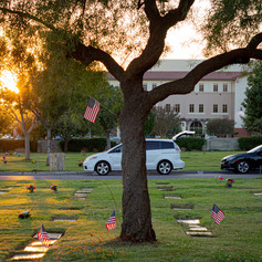 Families of deceased loved ones decorate grave sites and a tree with American flags on Veterans Day on Nov. 11, 2020 at the San Fernando Mission Catholic Cemetery on 11160 Stranwood Ave. in Mission Hills, Calif.