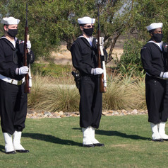 In honor of Daniel Coughlin, former Navy Captain, honor gaurds prepare to give a three-volley salute, where blank cartridges are fired into the air three times. Oct. 28, 2020. Miramar National Cemetary. San Diego, Calif.