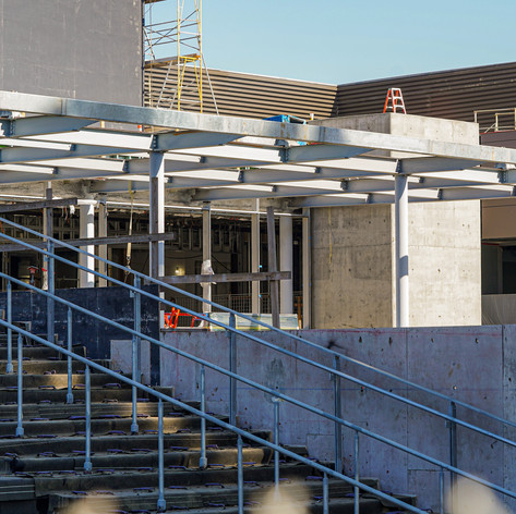 A stairway entrance on the south side of the Valley Academic and Cultural Center nears completion at Valley College, Nov. 2, 2020.