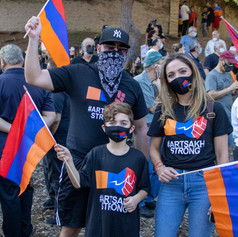 The Karaguezian family expresses their disagreement with the Azeri and Turkish aggression in Artsakh (Republic of Nagorno-Karabakh) on Sunday, Oct. 11, 2020.