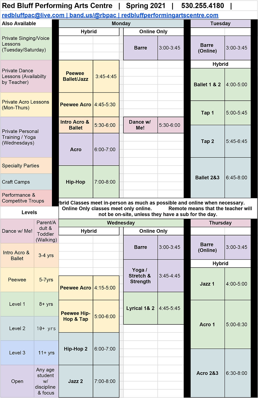 Spring 2021 Class Schedule vertical no t