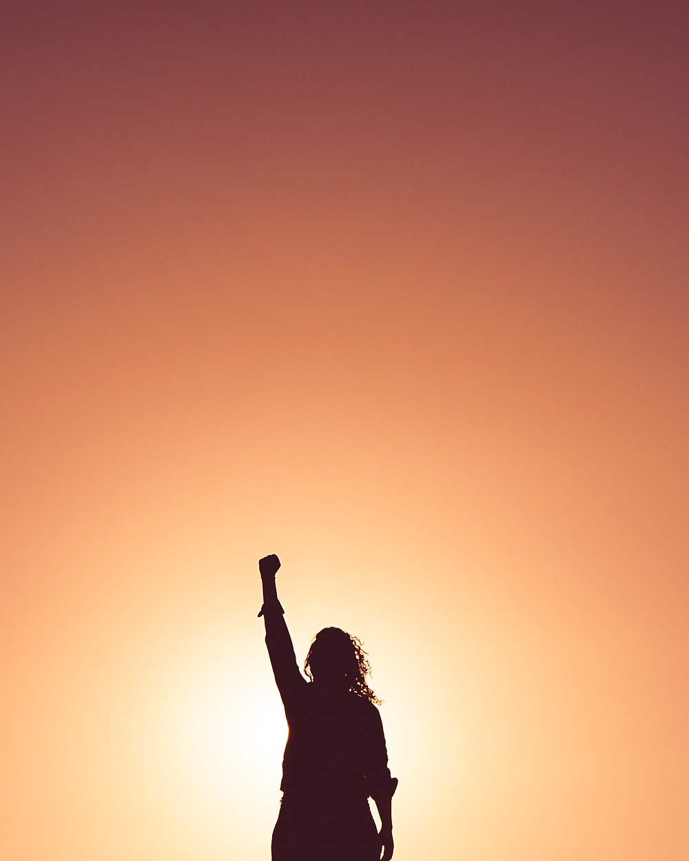 Silhouette of woman with fist raised facing sunset