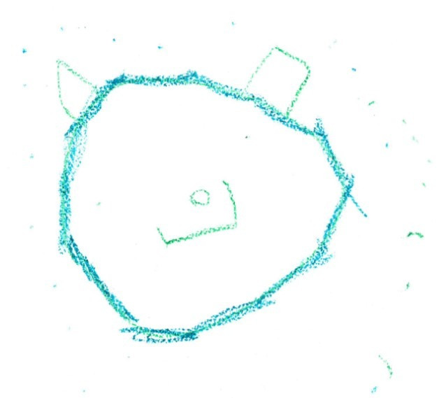 child's drawing of a bear in blue crayon