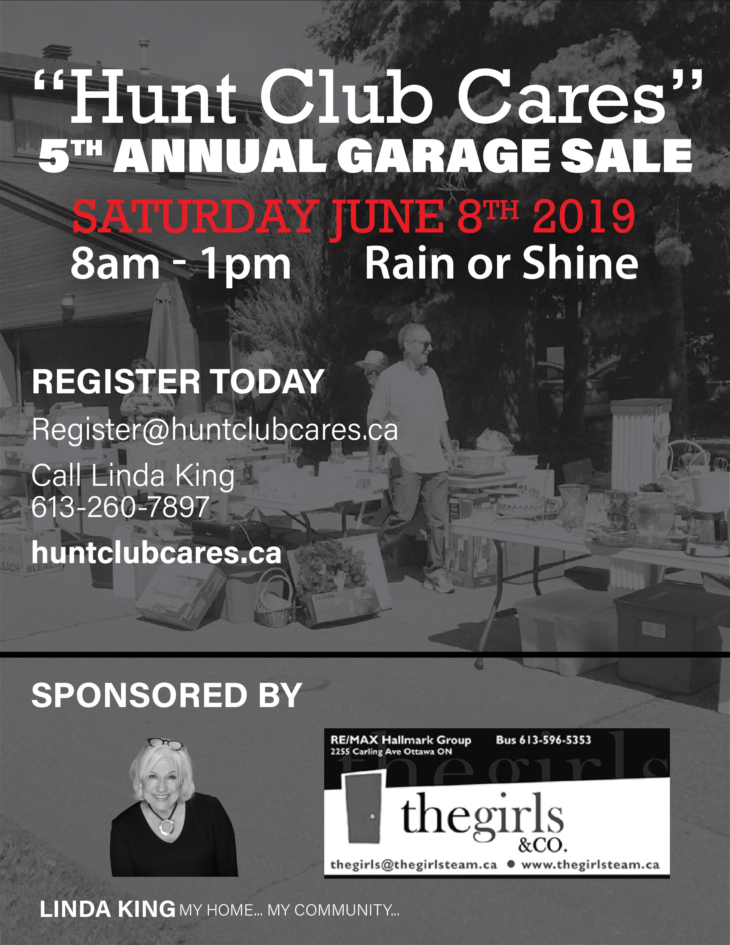 2019 hunt club cares garage sale flyer