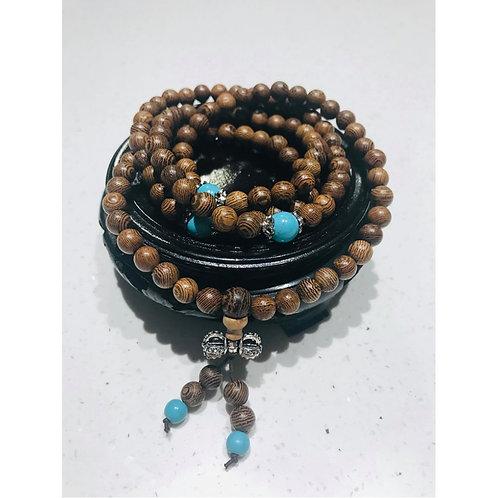 Bracelet Mala en bois et turquoise