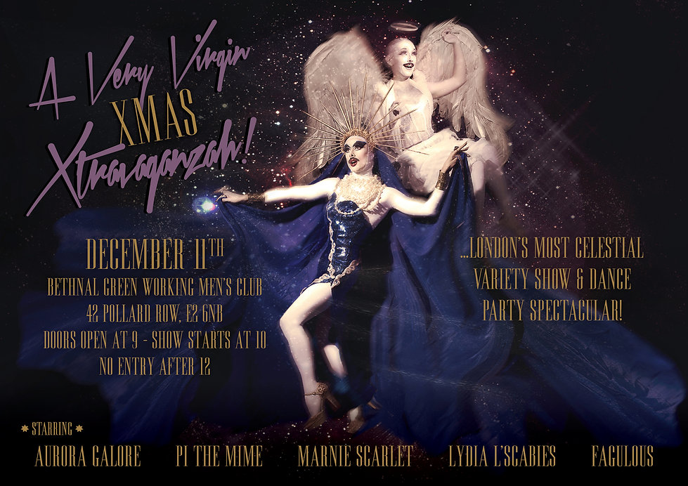 Virgin Xtravaganzah, Virgin xtravaganza, virgin mary drag queen, virgin, Pi the Mime